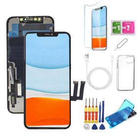 iPhone 11 Screen Replacement Package + Glass Protector + Lightning Cable + Case + Repair kit