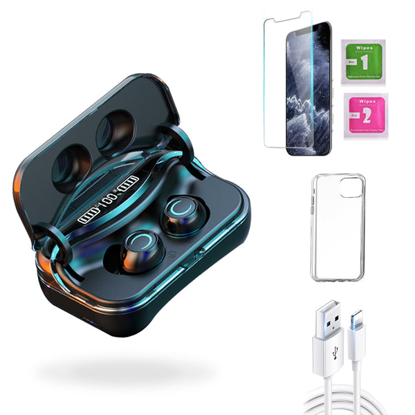 iPhone  11 Pro Max Accessories Package: Wireless Earbuds + Templered Glass + Phone Case + USB Cable - TYPhonePart