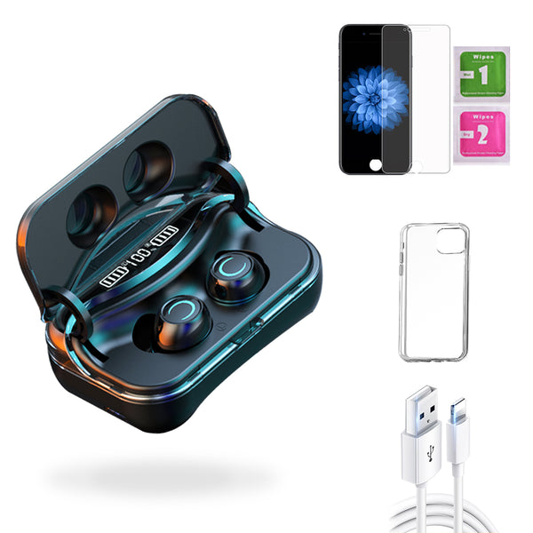 iPhone 6  Accessories Package: Wireless Bluetooth Earbuds + Templered Glass + Phone Case + USB Cable - TYPhonePart
