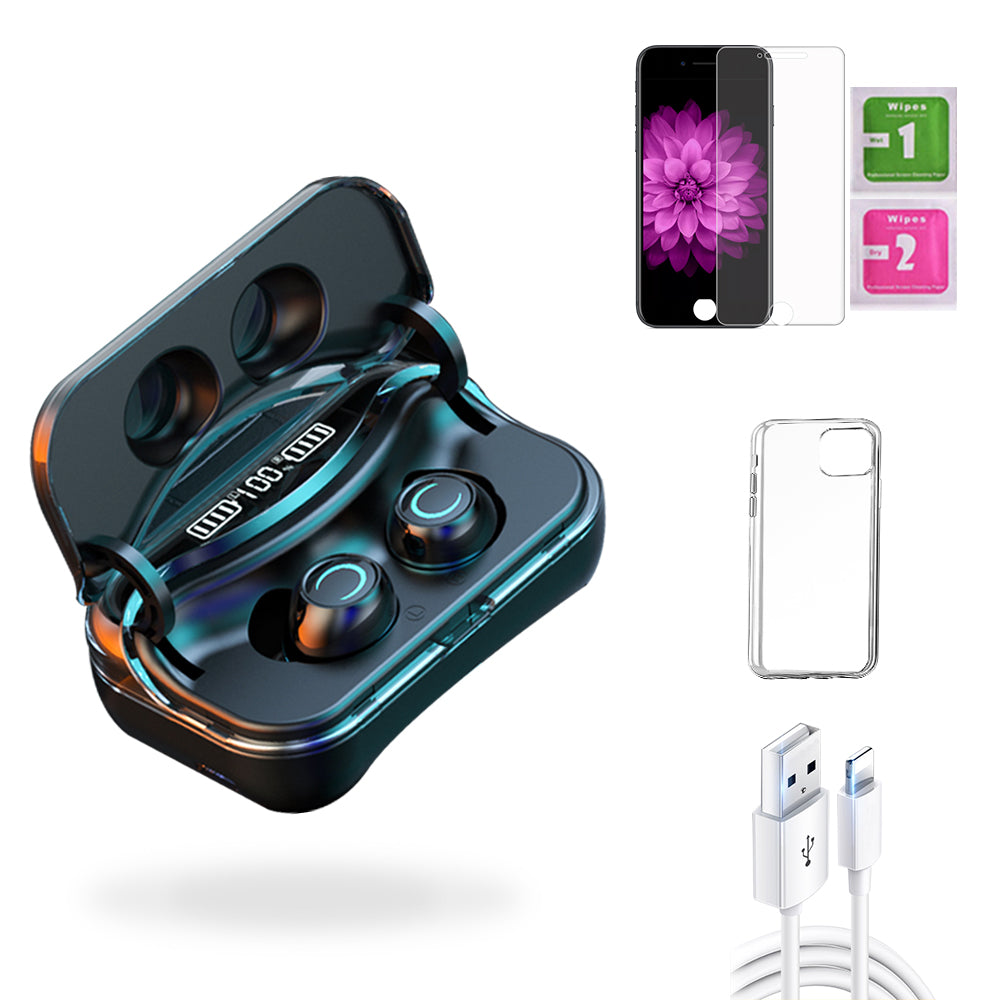 iPhone 6 Plus  Accessories Package: Wireless Bluetooth Earbuds + Templered Glass + Phone Case + USB Cable - TYPhonePart