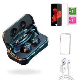 iPhone 6s  Accessories Package: Wireless Bluetooth Earbuds + Templered Glass + Phone Case + USB Cable