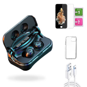iPhone 6s Plus  Accessories Package: Wireless Bluetooth Earbuds + Templered Glass + Phone Case + USB Cable