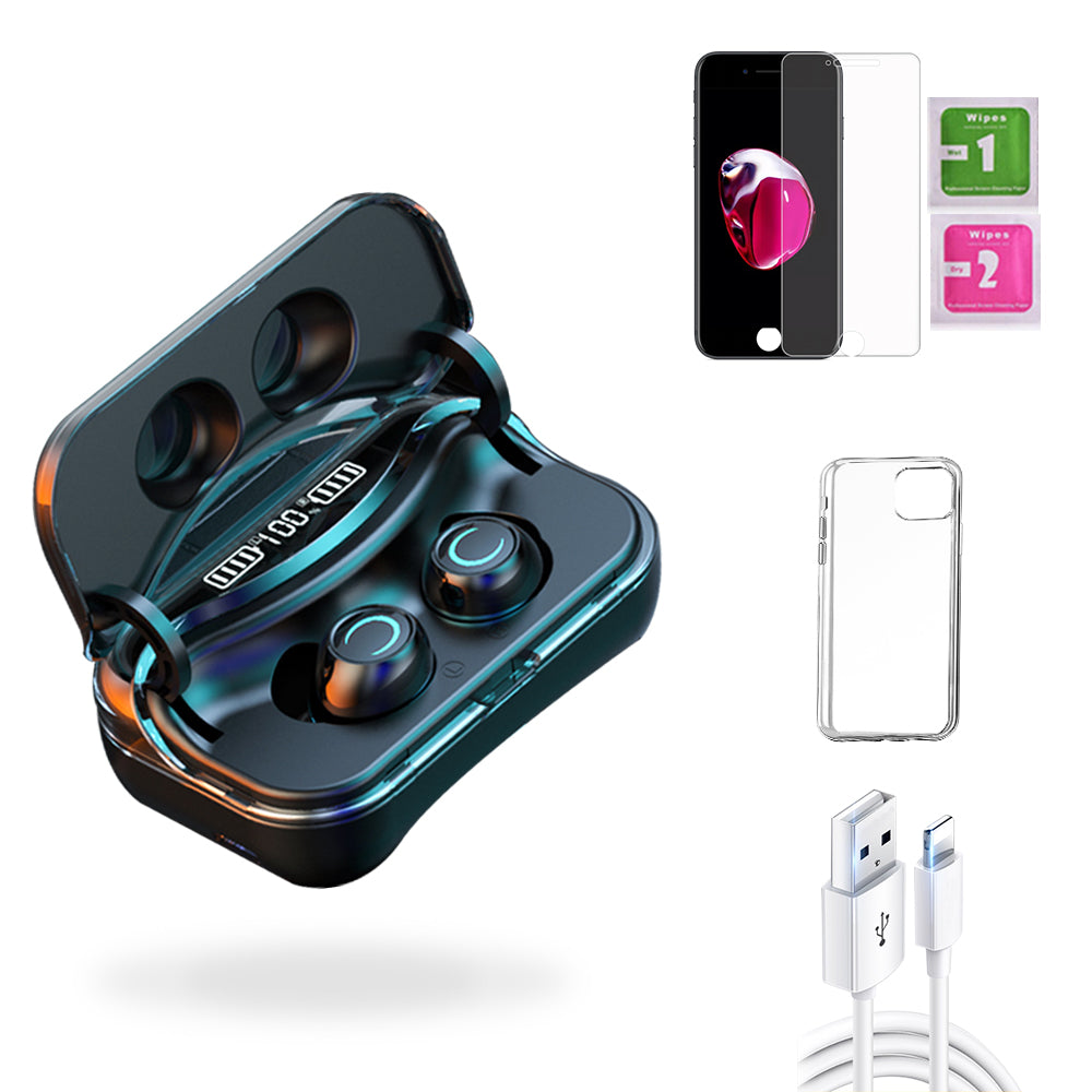 iPhone 7 Plus  Accessories Package: Wireless Bluetooth Earbuds + Templered Glass + Phone Case + USB Cable - TYPhonePart