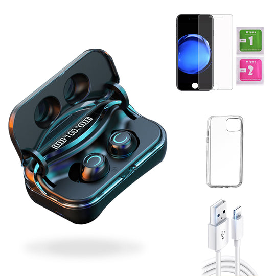iPhone 7  Accessories Package: Wireless Bluetooth Earbuds + Templered Glass + Phone Case + USB Cable - TYPhonePart