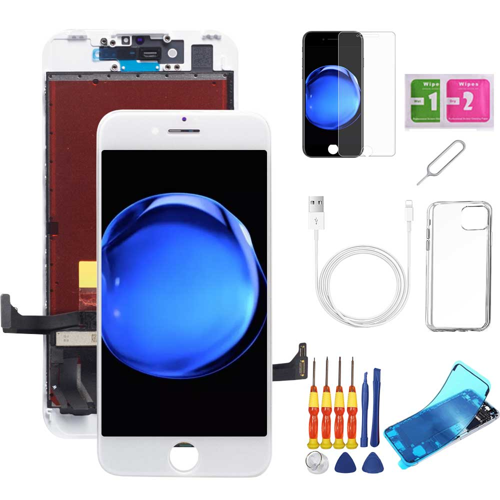 iPhone 7 Screen Replacement Package + Glass Protector + Lightning Cable + Case + Repair kit - TYPhonePart