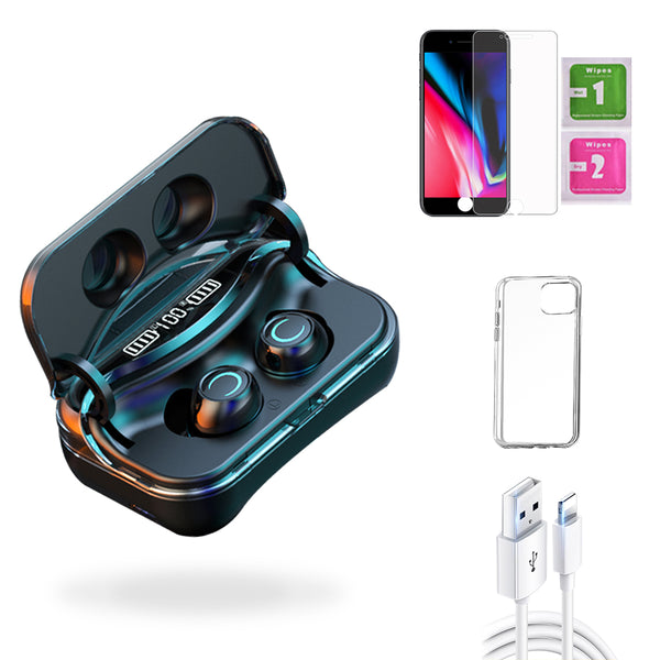iPhone 8  Accessories Package: Wireless Bluetooth Earbuds + Templered Glass + Phone Case + USB Cable - TYPhonePart