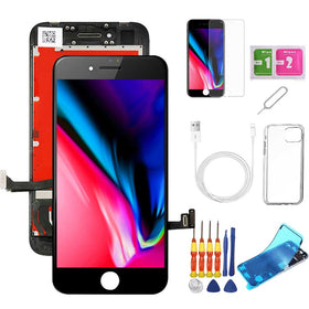 iPhone 8 Screen Replacement Package + Glass Protector + Lightning Cable + Case + Repair kit