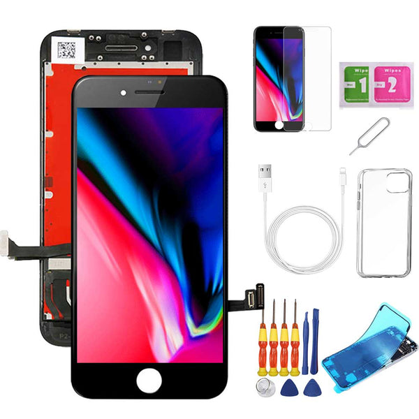 iPhone 8 Screen Replacement Package + Glass Protector + Lightning Cable + Case + Repair kit - TYPhonePart