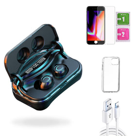 iPhone 8 Plus  Accessories Package: Wireless Bluetooth Earbuds + Templered Glass + Phone Case + USB Cable