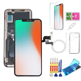 iPhone X Screen Replacement Package + Glass Protector + Lightning Cable + Case + Repair kit