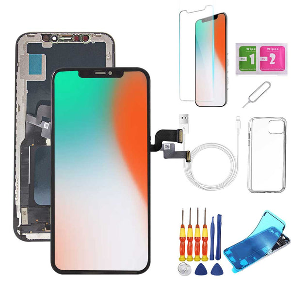 iPhone X Screen Replacement Package + Glass Protector + Lightning Cable + Case + Repair kit - TYPhonePart