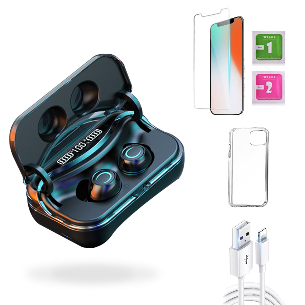 iPhone X  Accessories Package: Wireless Bluetooth Earbuds + Templered Glass + Phone Case + USB Cable - TYPhonePart