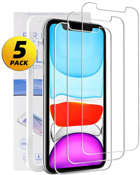 Glass Screen Protector for iPhone 11/iPhone XR 6.1 Inch 5 Pack Tempered Glass Screen Protector for Apple