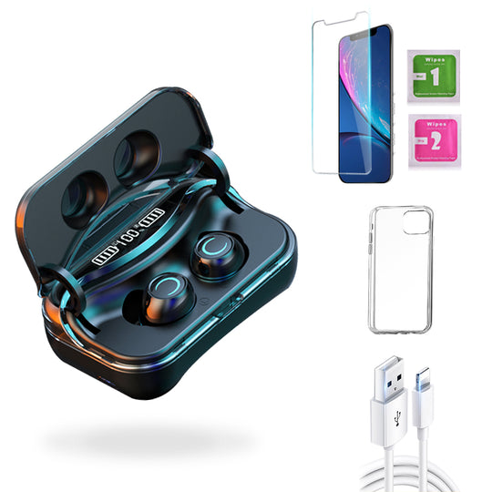 iPhone XR  Accessories Package: Wireless Bluetooth Earbuds + Templered Glass + Phone Case + USB Cable - TYPhonePart