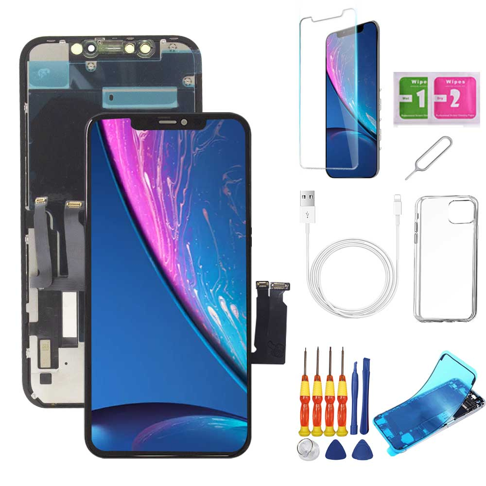 iPhone XR Screen Replacement Package + Glass Protector + Lightning Cable + Case + Repair kit - TYPhonePart