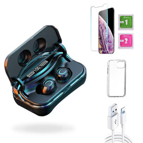 iPhone XS  Accessories Package: Wireless Bluetooth Earbuds + Templered Glass + Phone Case + USB Cable