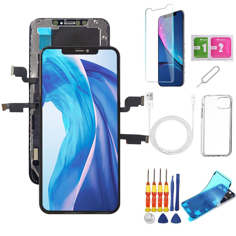 iPhone XS Max Screen Replacement Package + Glass Protector + Lightning Cable + Case + Repair kit - TYPhonePart