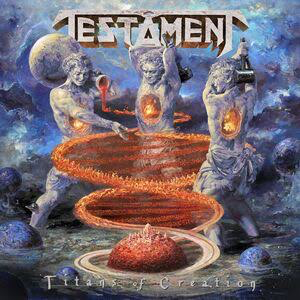 TESTAMENT <br/> <small>TITANS OF CREATION (CLEAR WITH ORANGE & BLUE)</small>