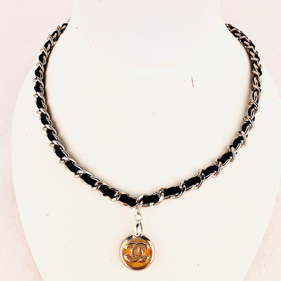 CHANEL Charm Necklace on Black Leather Silver Chain