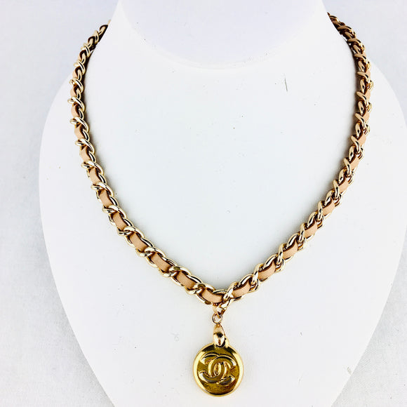 CHANEL Charm Necklace on Tan Leather Chain