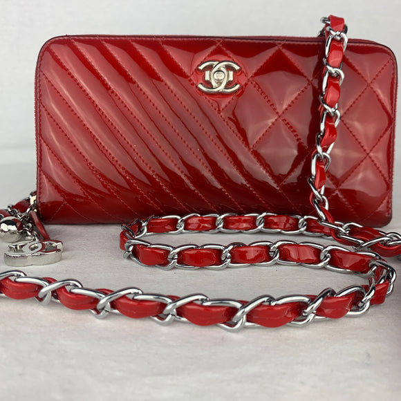 CHANEL Coco Boy Zip Wallet with Chain