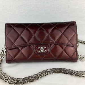 CHANEL Matelasse Patent Flap Wallet on Chain
