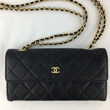 Timeless CHANEL🖤Matelasse Wallet on Gold Micro Chain