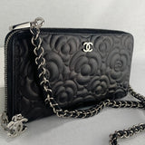 CHANEL Camellia Zip Wallet with Chain