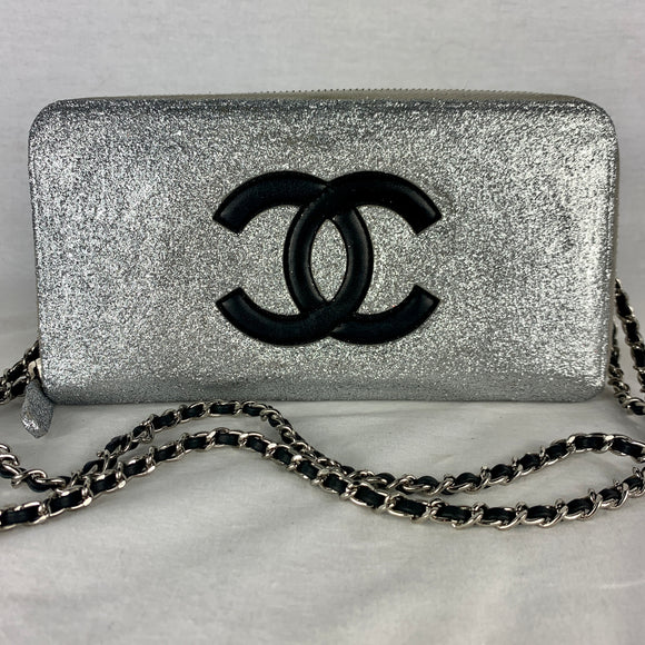 CHANEL Glitter CC Zip Wallet on Micro Chain