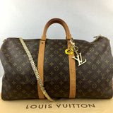 LOUIS VUITTON Monogram KeepAll 50 with Chain Strap