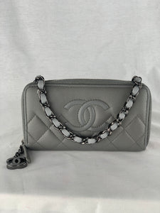CHANEL CC Quilted Zip Wallet on Leather Chain