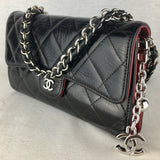 CHANEL Matelasse Lambskin Flap Wallet on Double Weave Chain