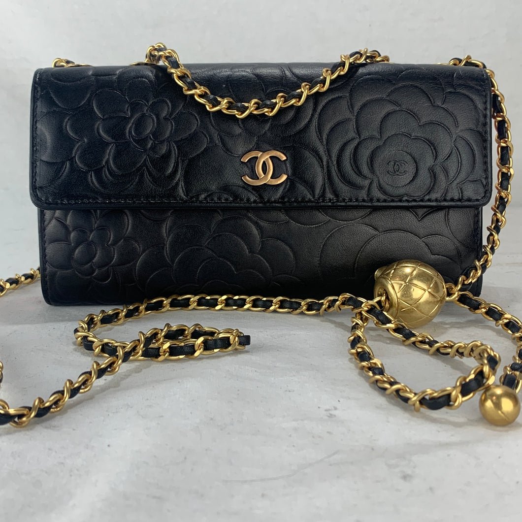 CHANEL Camellia Wallet on Adjustable Gold Micro Chain