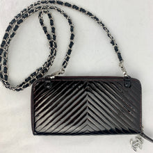Load image into Gallery viewer, CHANEL Patent Chevron Zip Wallet with Micro Chain