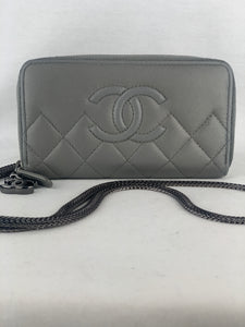 CHANEL CC Quilted Zip Wallet on Chain