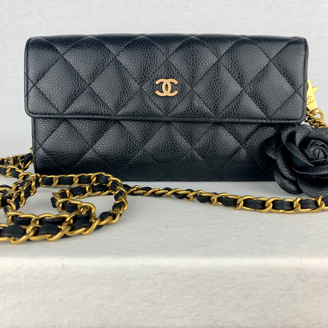Timeless CHANEL Caviar Leather Matelasse Wallet on Chain