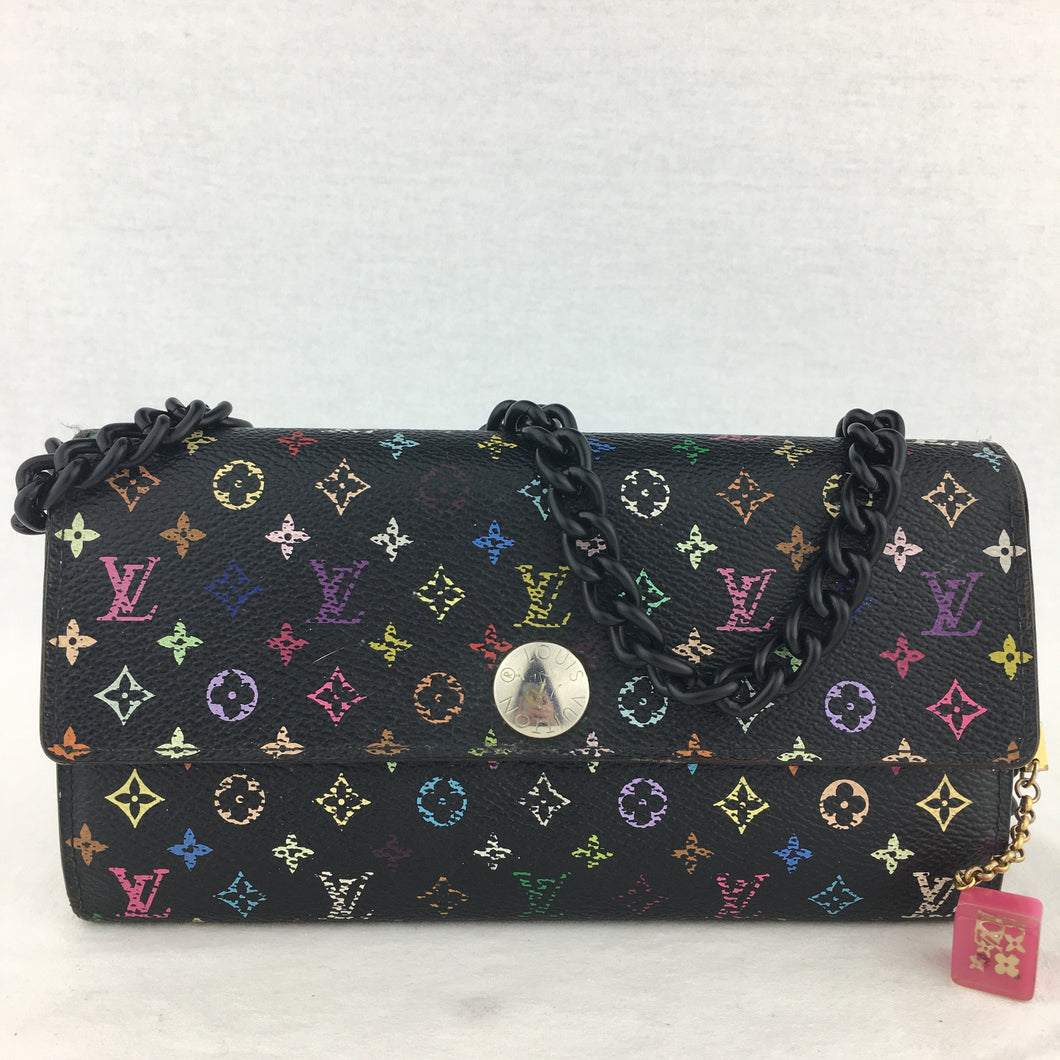 LOUIS VUITTON Black Multicolor Sarah Wallet on Chain
