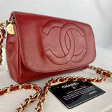 Vintage CHANEL Red Caviar Clutch on Chain