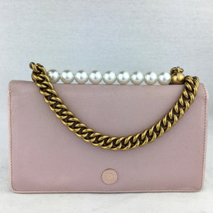 CHANEL CC Button Wallet with Pearls & Chain