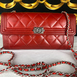 CHANEL Red Lambskin BOY Flap Wallet & Micro Chain