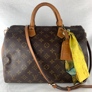 LOUIS VUITTON Speedy 30 w/ Strap, ID & Twilly