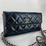 CHANEL Patent Leather Flap Wallet & Micro Chain
