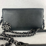 CHANEL Camellia Wallet with Leather Chain