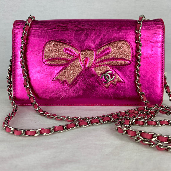 CHANEL Glitter Bow Wallet on Micro Chain