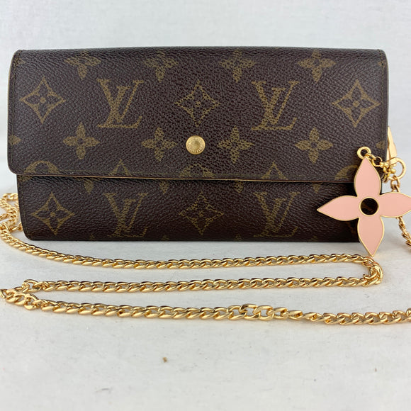 LOUIS VUITTON Sarah Wallet on Chain & Flower Charm