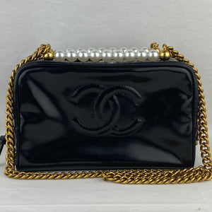 Custom Created CHANEL Patent Bag Pearl Crown&Chain