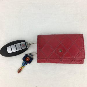 CHANEL Leather Quilted Key Case/Card Holder