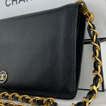 Load image into Gallery viewer, CHANEL CC Button Leather Wallet on Leather Chain