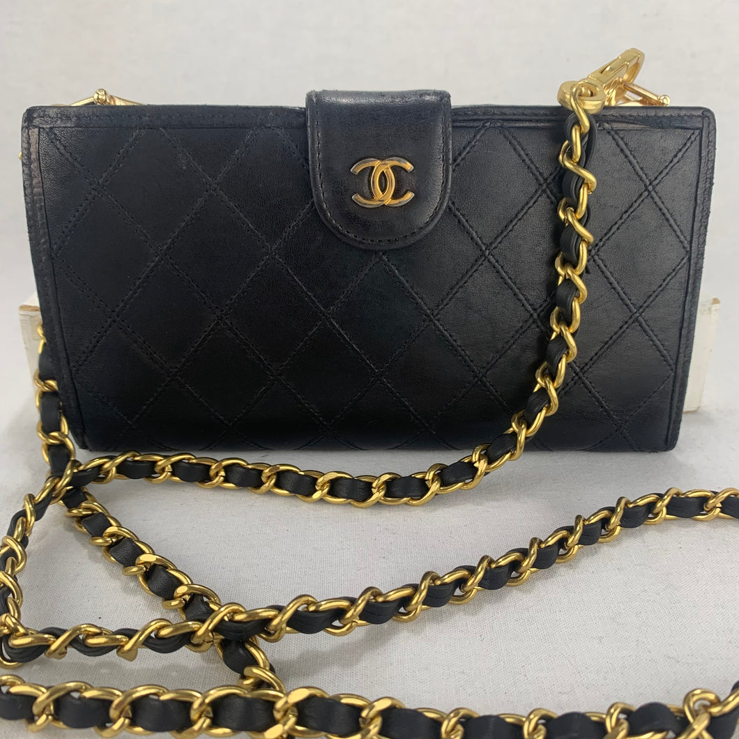 CHANEL Wild Stitch Lambskin Wallet on Chain
