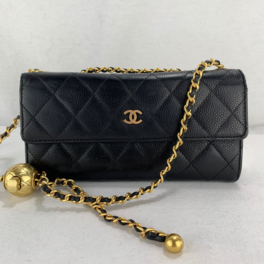Timeless CHANEL Caviar Matelasse Wallet on Adjustable Gold Chain